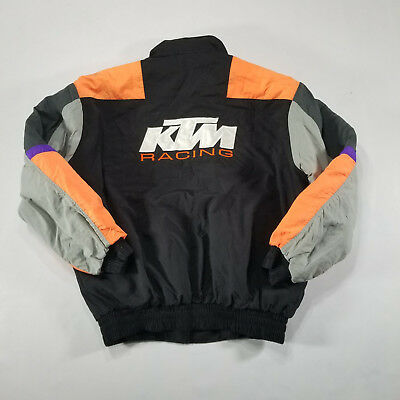 VTG KTM Racing Quilted Windbreaker XL Black Neon Color block Spell Out 90s