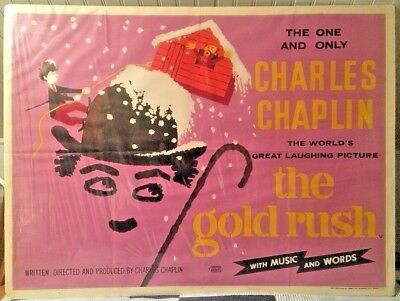 Vtg The Gold Rush Charlie Chaplin Sound Re-Release Movie Poster One Sheet London