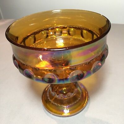 Vintage Fenton Amber Iridescent Carnival Art Glass Pedestal Compote Candy Dish