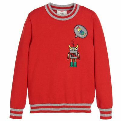 6b5d1164bf1 NWT NEW Fendi Boys red gray knitted monster robot logo applique sweater 6y