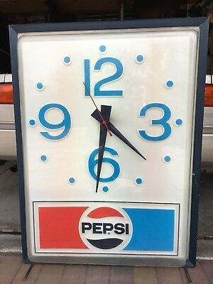 "Original Rare 1970's PEPSI COLA  Lighted Clock Sign 30"" X 40""  ** WORKING **"