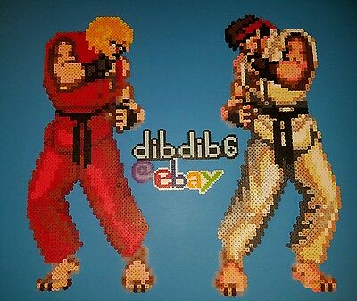Street Fighter Set perler wall art  hama sprite rave edm edc plur kandi bead
