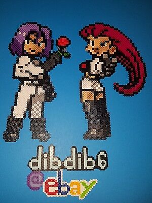 Team Rocket Pokemon GO kandi perler wall art, rave, EDC, PLUR hama bead sprite