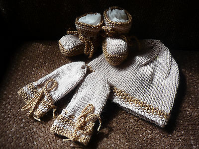 Baby Beanie, Booties & Mittens, Boy/girl, Extra Soft Beige/brown, Hand-Knitted