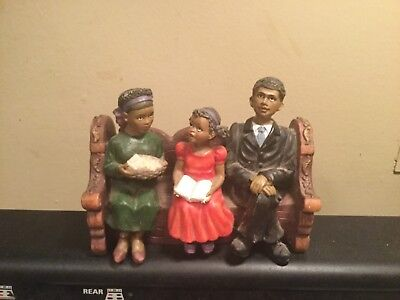 Black Figurine/african American~Sitting On Bench~At Chuch~Family~Ships Free!!