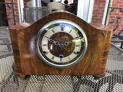 1920s Art Deco Wooden British Made Chime Clock