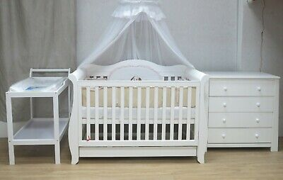 Royal Sleigh Cot Drawer Change Table Mattress Pad Crib Baby Bed Chest Walnut