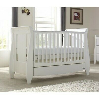 BW04 Sleigh Cot Drawer With Organic Mattress Crib Baby Bed Package White Walnut