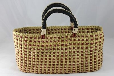 Natural Hand-Woven Lunch Bag Tote Kiondo Shopper Picnic Basket Free Postage