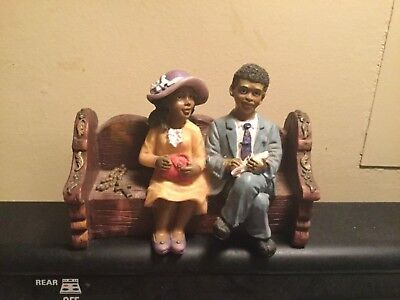 Black/african American Figurine~Couple At Chuch~Sitting On Bench~Ships Free!!