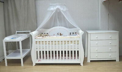 BW05 Royal Sleigh Cot With Dropside & Drawer Mattress Crib Baby Bed White Walnut