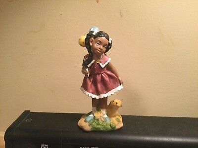 Black/african American Figurine~Cute Little Girl~Holding Balloons~W/puppy Dog~Fs