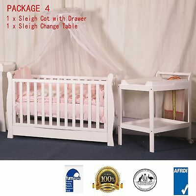 Babyworth Sleigh Cot With Drawer Change Table  White Walnut Package Mattress Pad