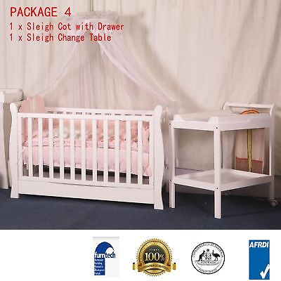 Sleigh Cot With Drawer Change Table  Package