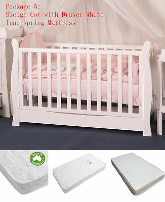 Sleigh Cot Drawer Change Table Mattress Pad Crib Baby Bed Chest Package 5