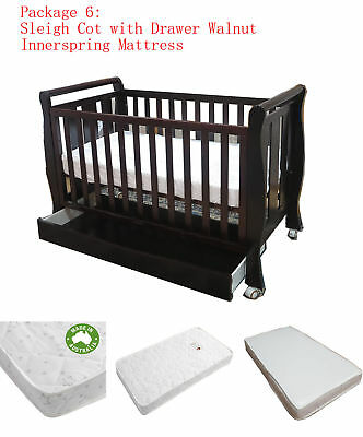Sleigh Cot With Drawer & Innerspring Mattress Pad Crib Baby Bed Package Walnut