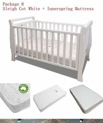 Sleigh Cot Drawer Change Table Mattress Pad Crib Baby Bed Chest Package 8