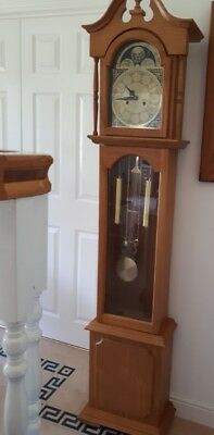 Grandfather Clock Modern Reproduction Oak Chiming, 31 day