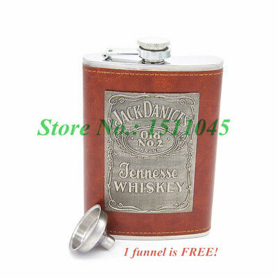 Stainless Steel Hip Pocket Flask 9 Oz with Funnel with Brown PU Leather Wrapped