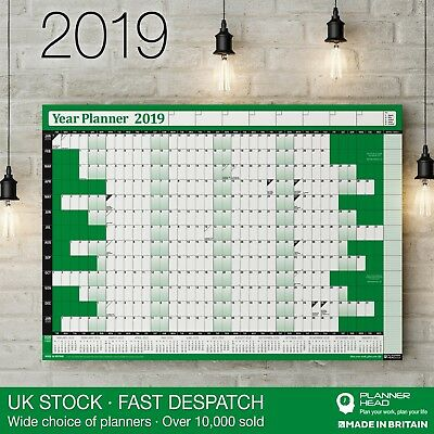 2019 Year Planner Wall Chart Poster ✔Holidays & 2020 Calendar ✔Home,Office✔GREEN