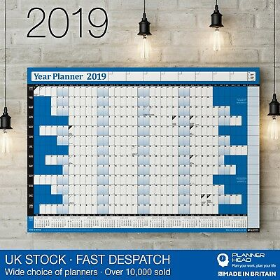 2019 Year Planner Wall Chart with Holidays & 2020 Calendar✔Home,Office,Work✔BLUE