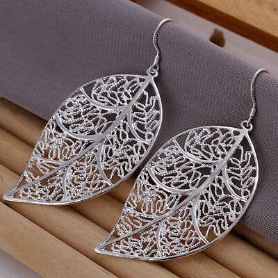 Womens 925 Sterling Silver Ear Earrings Ladies Leaf Hoop Hanging Dangle Earrings