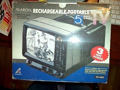 "Alaron 5"" Rechargeable Portable TV - Black and White WORKING"