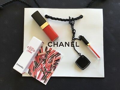 Chanel Rouge Coco Gloss Anhänger und Rouge Coco  Mini Gloss Bitter Orange
