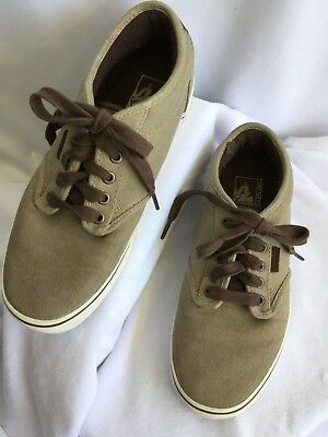fb5fdf4a65e4f3 Vans Shoes 8 Beige White Ultracush Canvas Brown Leather Trim Lace Up  Sneakers