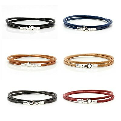 Genuine Greek Leather Bracelet With Sterling Silver Clasp-Double Wrap-3mm Cord