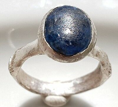 ** BLUE STONE ** BYZANTINE ROMAN Silver RING ** BEAUTIFUL FERTILITY RING **