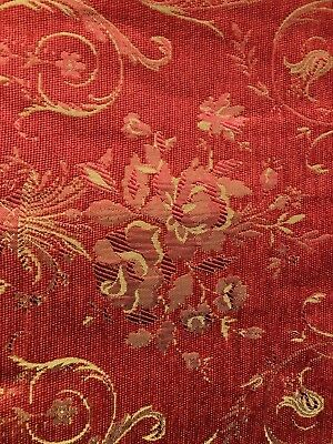 Red Gold Floral Damask Chenille Upholstery Fabric 54 In Sold Bty