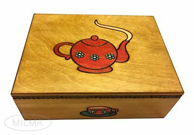 Wooden TEA BOX w/ Partitions Handmade Linden Wood Keepsake Made in Poland