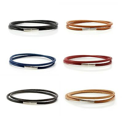 Genuine Greek Leather Bracelet With Sterling Silver Twist Clasp-Double Wrapped