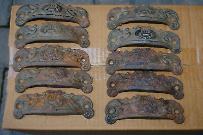 TEN - Vintage Cast Iron bin drawer  Lyre Harp pulls 4.25 ""