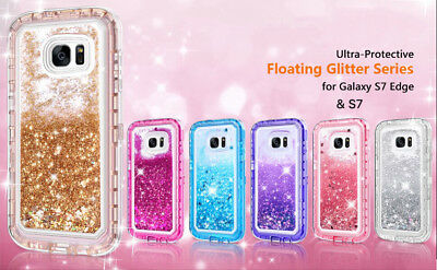 Samsung Galaxy S7 Edge Liquid Glitter Bling Quicksand Clear Flowing Sparkle Case