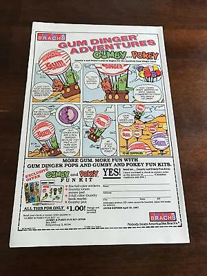 "1986-7 LOT OF 3 VINTAGE 6x10"" PRINT ADS Brachs Gumby+Pokey Gum Dinger Adventure"