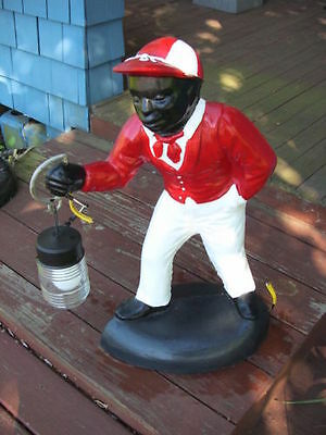 Black Americana Red Lawn Jockey Statue...hurry While Supplies Last