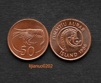 ICELAND ISLAND 50 AURAR 1986 UNC COIN CURRENCY EUROPEAN >Crustacea
