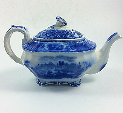 Antique Burgess Leigh NONPAREIL Flow blue TEAPOT Middleport pottery England