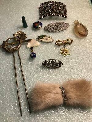 Vintage Antique Lot Of11 Piece Pins, Charm, Fur, Fob?  Mourning, Shoebuckle Ect