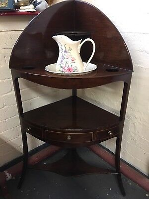 Antique Georgian inlaid mahogany corner washstand table Fully Re-French polished