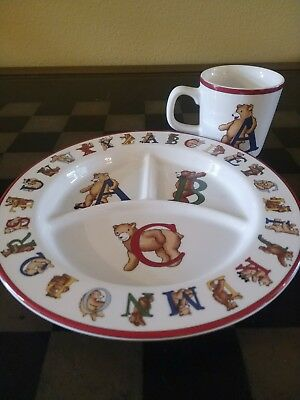 1994 Tiffany & Co. Alphabet Bears Childs China Set Cup And Plate