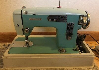 VINTAGE WHITE SEWING Machine Model 1356 Blue Heavy Duty Working Condition