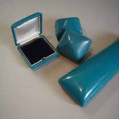 4 Unusual Vintage Teal Faux Leather Jewelry and Ring Boxes Antique