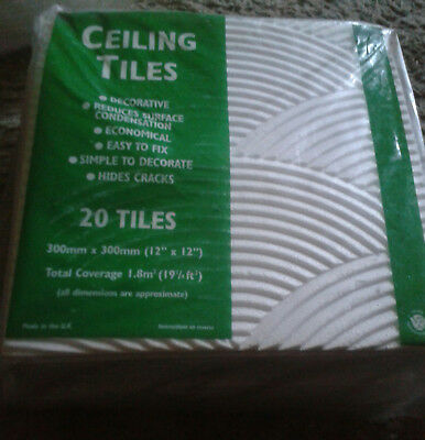 40 Rippled Ceiling Tiles. Packaged. 300mm x 300mm. 12ins x 12ins. COLLECTION.