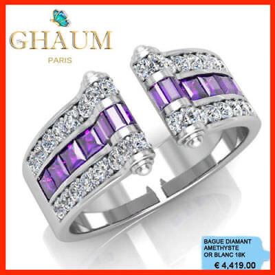 SUBLIME BAGUE DIAMANT 1,01 Carat AMETHYSTE 1,81 Carats OR BLANC 18K 750° 4419€