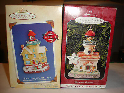 HALLMARK Ornaments Lot of 2 Lighthouse Greetings Magic Collector's Series #2 #8