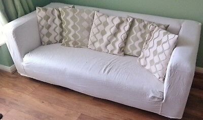 Ikea Klippan 2 Seater Sofa With Removable Cream Plain Cover Gc