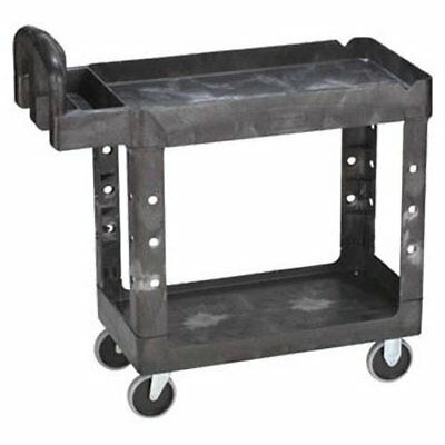 Rubbermaid Commercial Heavy-Duty Utility Cart with Lipped Shelves, Small, Black